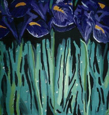 Irises, acrylic on canvas by: JoreJj Z. Elprehzleinn